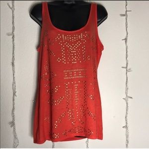 🎉 ATTENTION Coral Tanktop Accent Detail Large